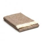 Wol deken beige – creme –  visgraatmotief