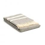 Wollen deken grijs – creme met strepen – gestreept